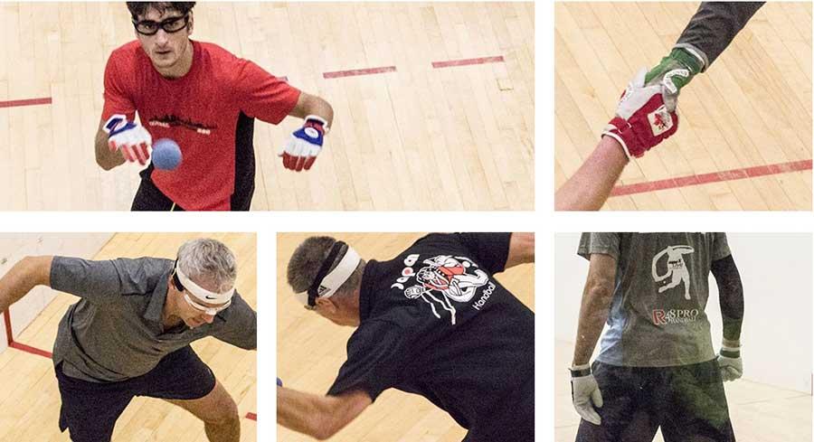 montage photo joueurs de balle au mur