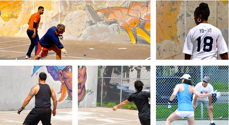 Montage photo joueurs de balle au mur à l'extérieur